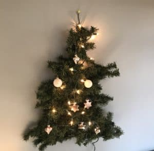 small Christmas tree made out of one garland