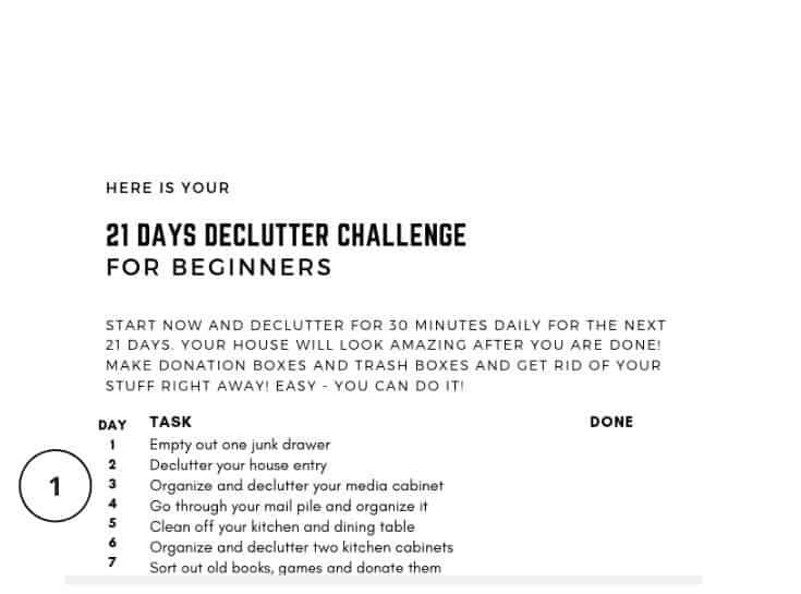 Declutter Challenge Part 1 printable