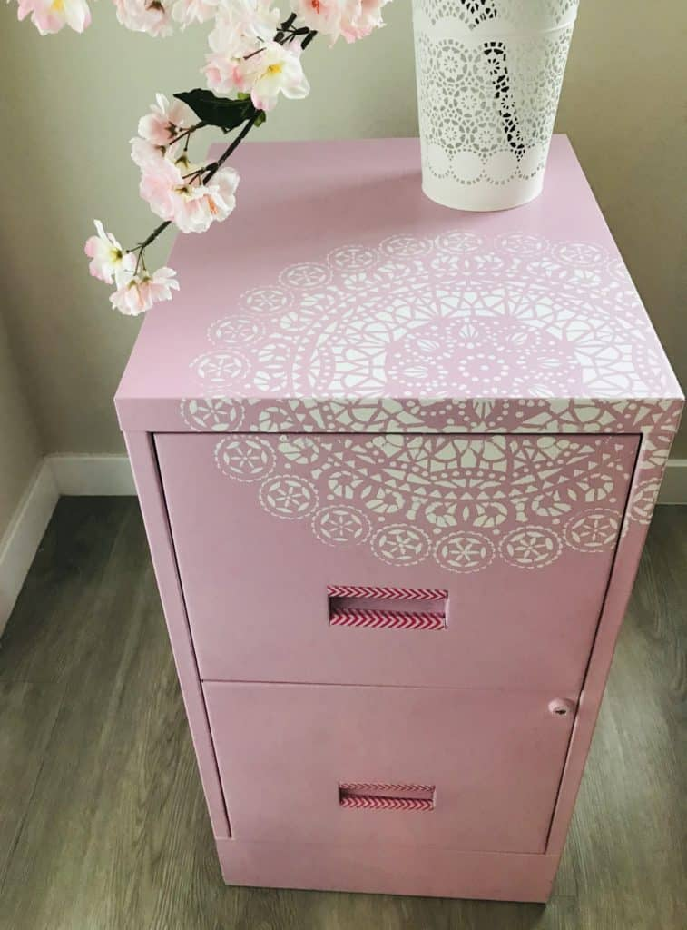 Metal Cabinet painted with stencil