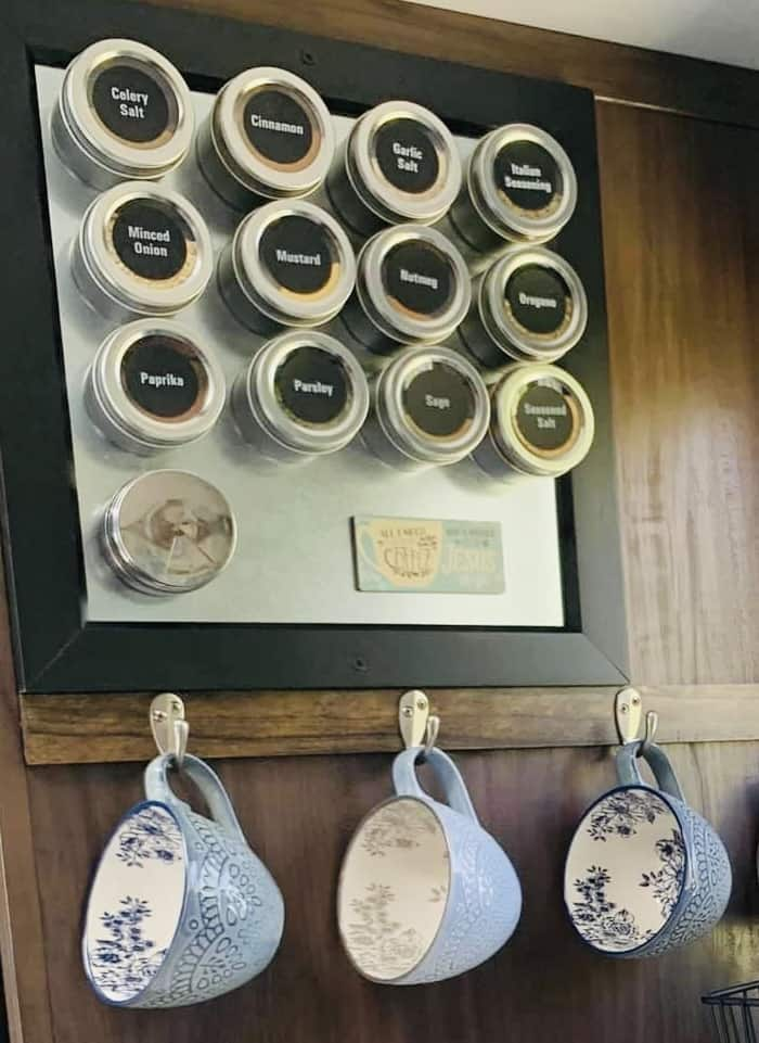 spices hanging on metal sheet