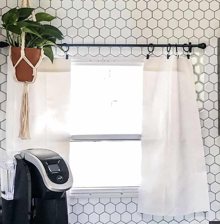 use drop clothes to make curtains for your RV window