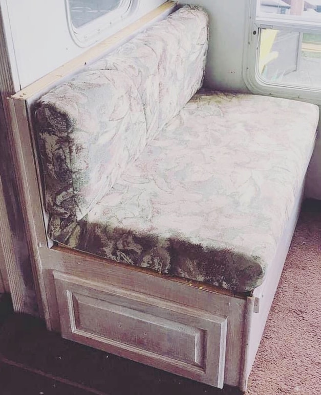 old RV dinette needs to be updated. How to Reupholster Camper Dinette Cushions easy (no sewing)
