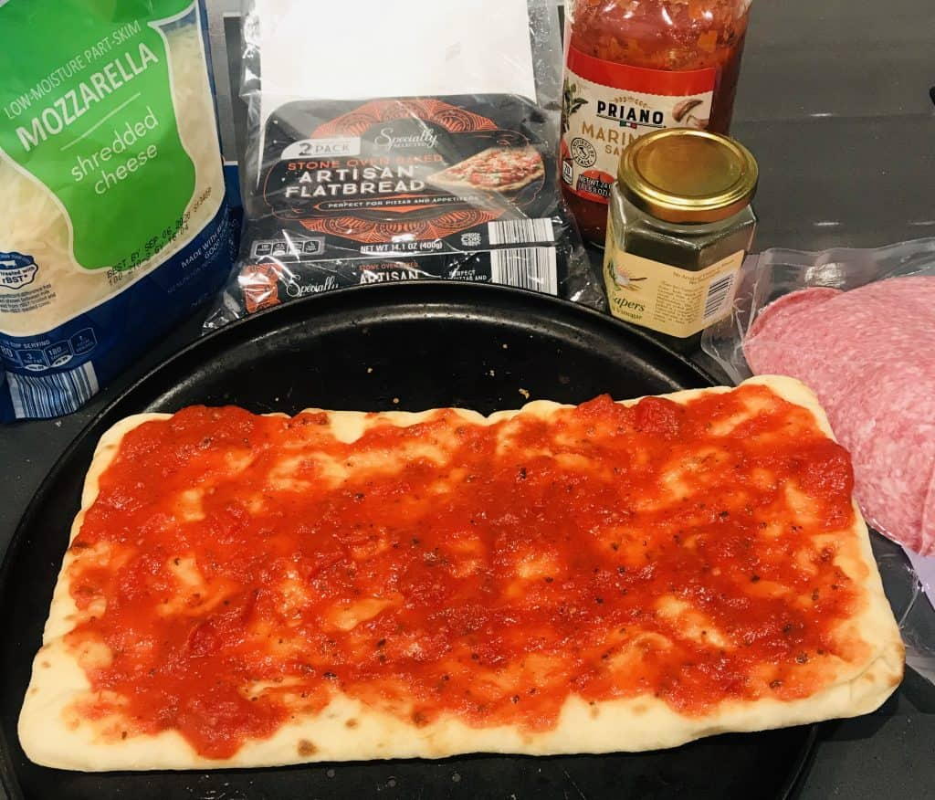 flatbread with tomato sauce