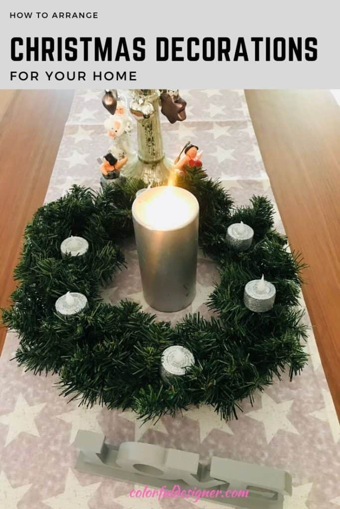 dining table Christmas decoration with wreath and candle
