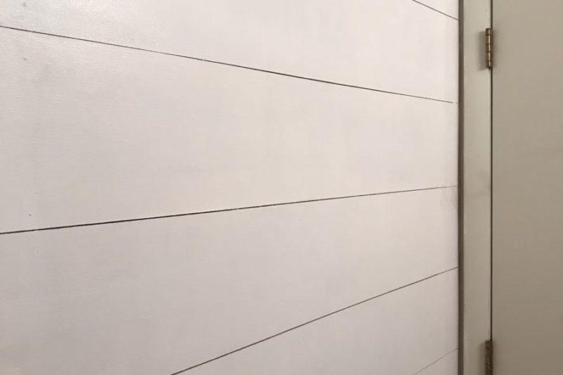 Painted shiplap wall