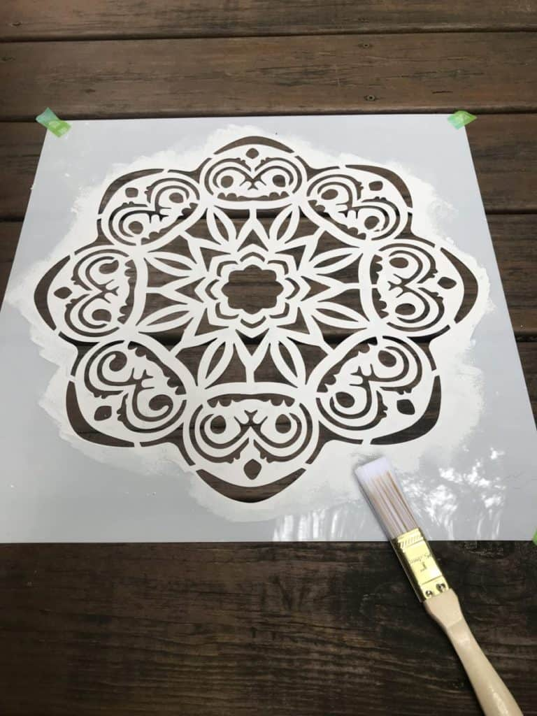 stencil painted with brush