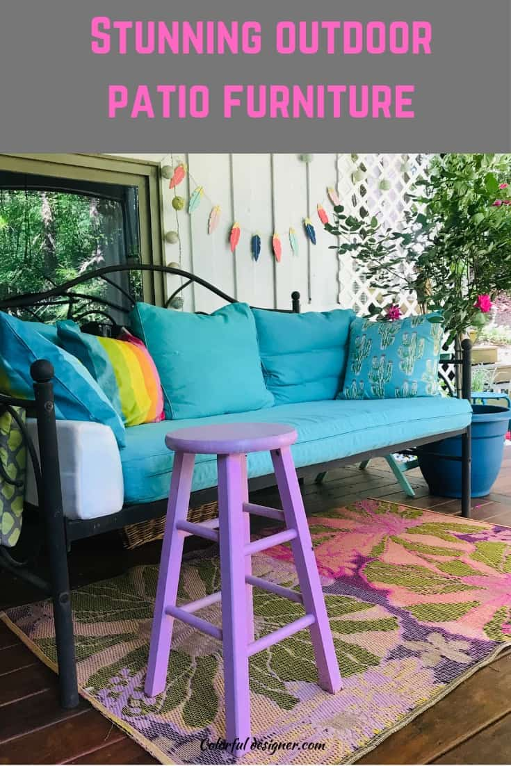 outdoor furniture colorful couch and stool